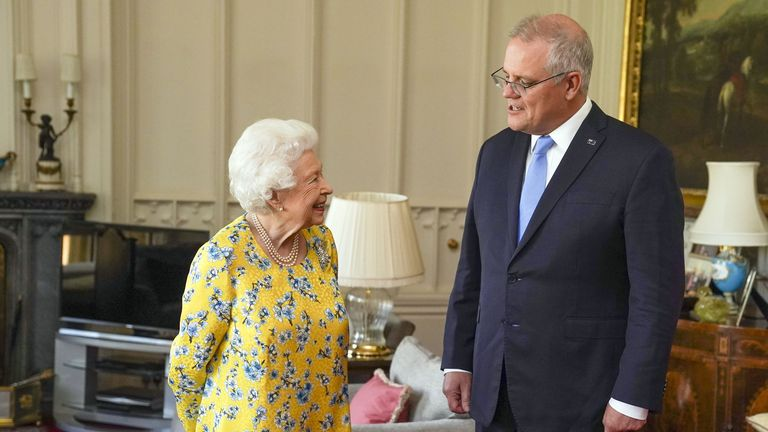 The Queen receives Australian Prime Minister Scott Morrison during an audience in the Oak Room at Windsor Castle