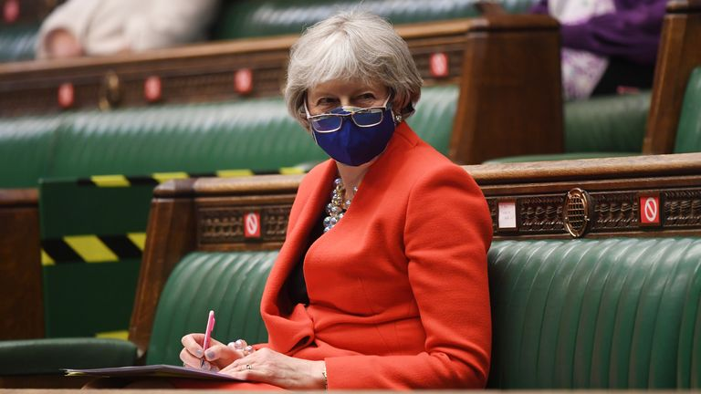 Handout photo issued by UK Parliament showing former prime minister Theresa May during the Queen's Speech debate. Pic: UK Parliament/Jessica Taylor