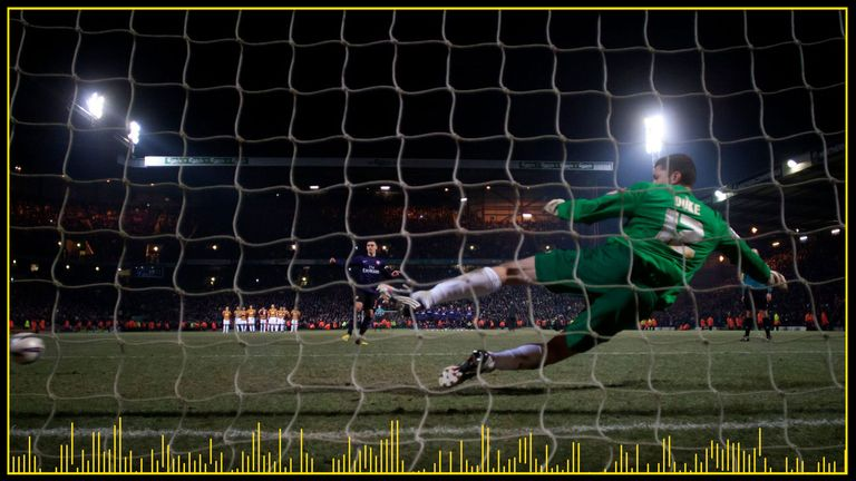 Arsenal defender Thomas Vermaelen takes a penalty during the tie in 2012