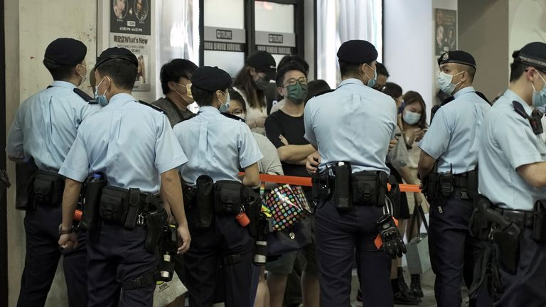 Police officers in Mong Kok stopped and searched residents on Friday