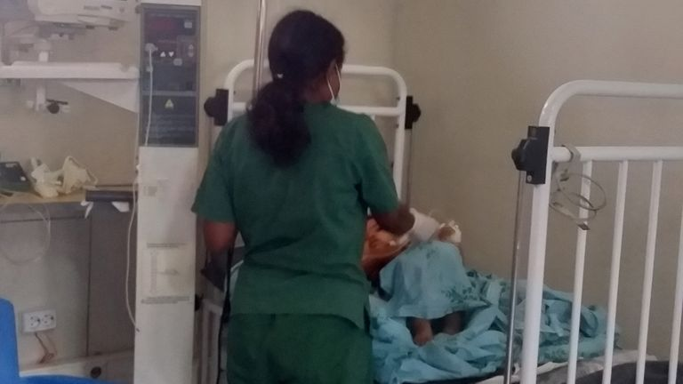 A  baby injured in the airstike is treated at the Ayder Referral Hospital in Mekelle