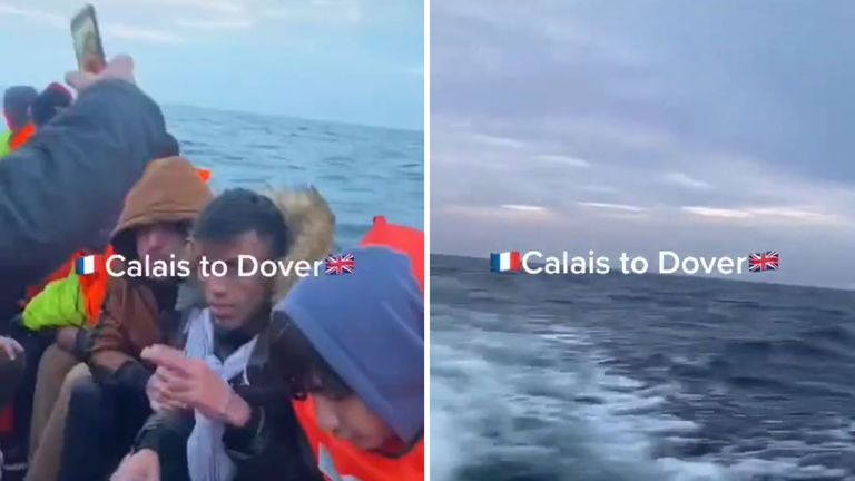 Home Secretary Priti Patel says some videos shared on social media are glamorising 'dangerous and illegal' Channel crossings. Pic: TikTok