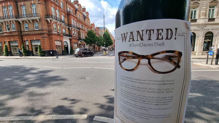 Designer Tom Davies released a 'wanted' poster after his Sloane Square store was broken into