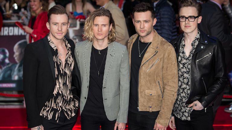 Danny Jones, Dougie Poynter, Harry Judd and Tom Fletcher of McFly at the premiere of Captain America Civil War in London in 2016. Pic: AP