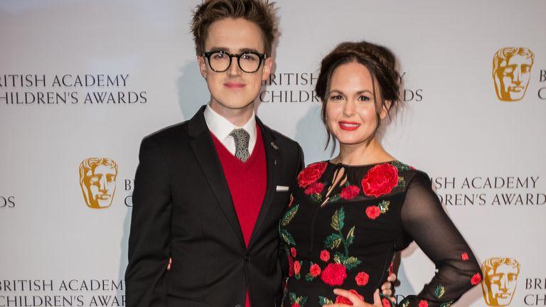 Tom Fletcher and Giovanna Fletcher at the BAFTA Children's awards in London in 2016. Pic: AP