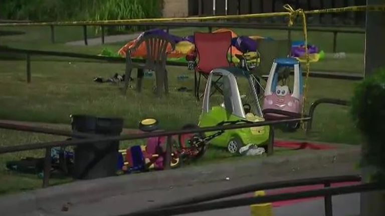 Three children aged one, five and 11 were hurt in the shooting