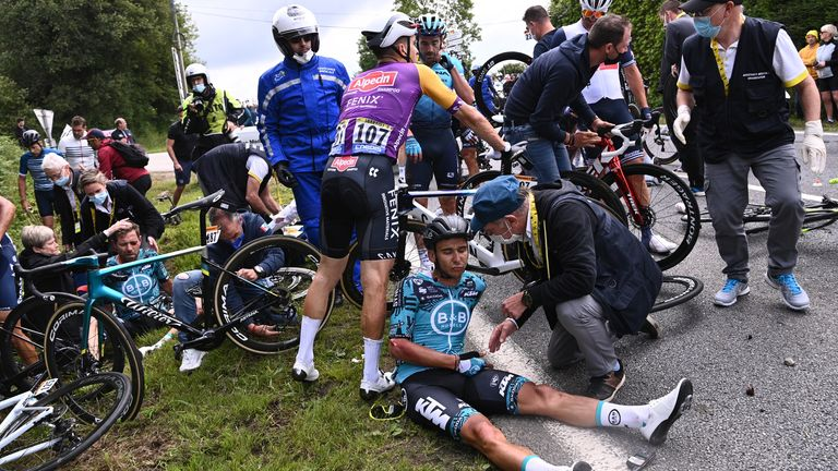 Several riders came off their bikes during two big pile-ups on the first stage of the Tour de France
