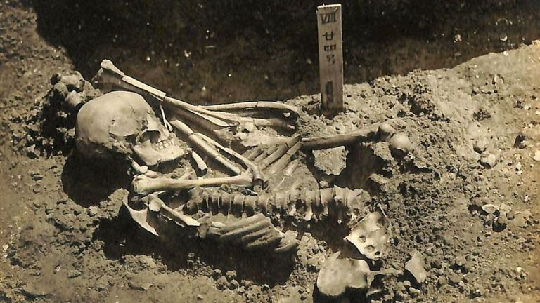 Original excavation photograph of Tsukumo No 24 (Pic: Laboratory of Physical Anthropology, Kyoto University)