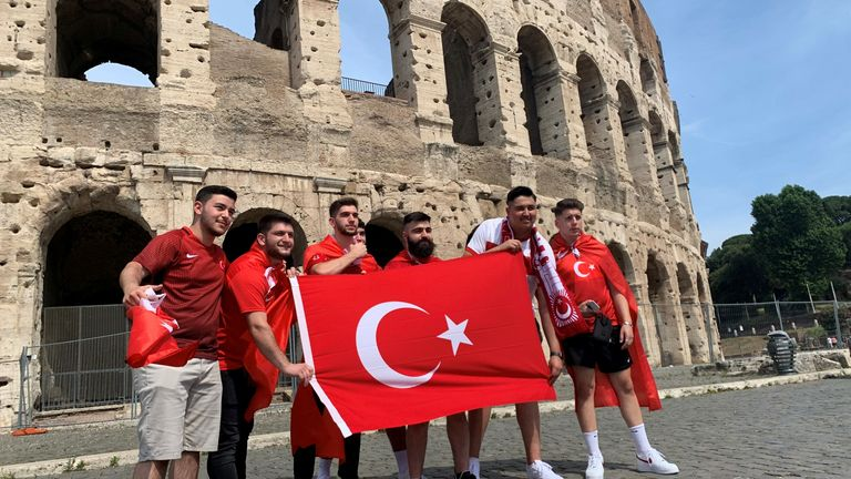 Fans have gathered at the fan park  by the Colosseum in Rome, with the stadium only at 25% capacity due to COVID-19 restrictions