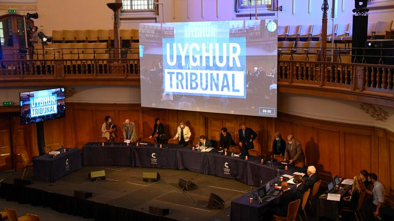 The independent Uighur tribunal takes place at Church House in London. Pic: AP