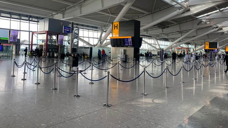 Heathrow Airport has been much quieter than usual due to the pandemic