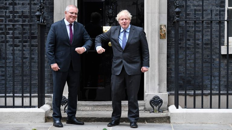 Australia's Prime Minister Scott Morrison with Boris Johnson in Downing Street on Monday Pic: AP
