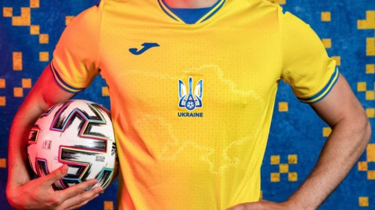 Ukraine's new Euro 2020 kit has sparked Russian anger by featuring a map of the country that includes Crimea. Pic: Andrii Pavelko/Facebook