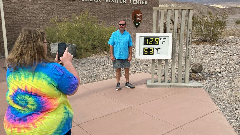Temperatures in Death Valley, California reached a sweltering 129F (53C) this week