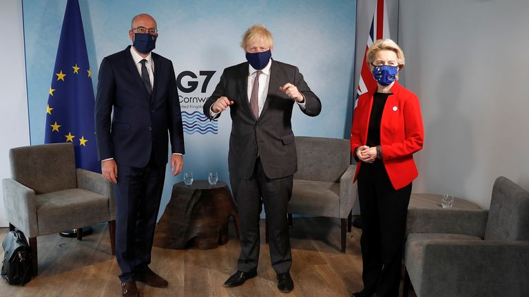 Britain's Prime Minister Boris Johnson meets with European Commission President Ursula von der Leyen and European Council President Charles Michel during the G7 summit in Carbis Bay, Cornwall, Britain, June 12, 2021. REUTERS/Peter Nicholls/Pool