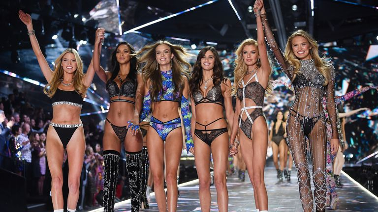 Martha Hunt, Lais Ribeiro, Josephine Skriver, Sara Sampaio, Stella Maxwell and Romee Strijd at the 2018 Victoria's Secret Fashion Show in New York. Pic: Evan Agostini/Invision/AP