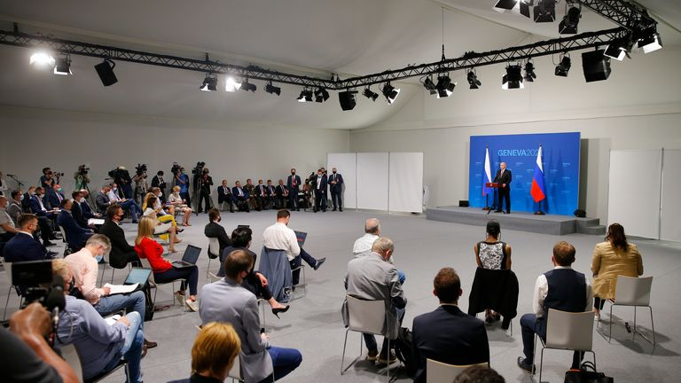 President Putin addresses members of the media after his meeting with President Biden