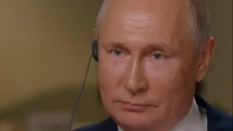 Vladimir Putin says cyber attack accusations are 'farcical'. Pic: NBC News