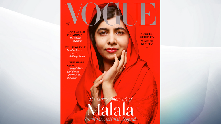 Malala is on the front of the latest British Vogue. Pic: Nick Knight/Vogue