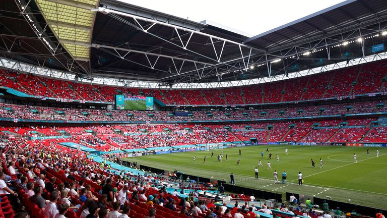 Fans are pictured in the stands at Wembley on Sunday. Pic: AP