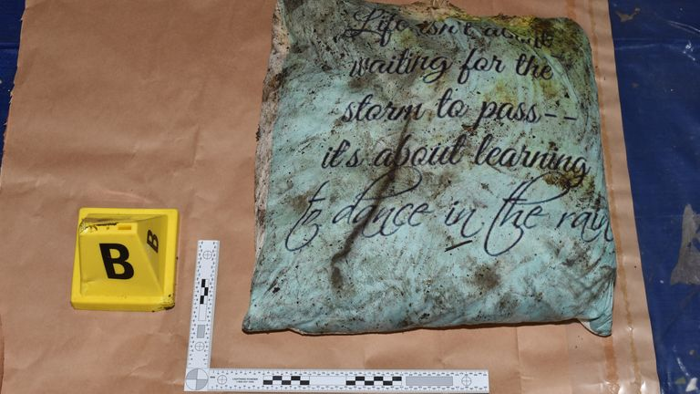 Picture of a cushion used by Wembley sisters Bibaa Henry, 46, and Nicole Smallman, 27, on the night they were killed