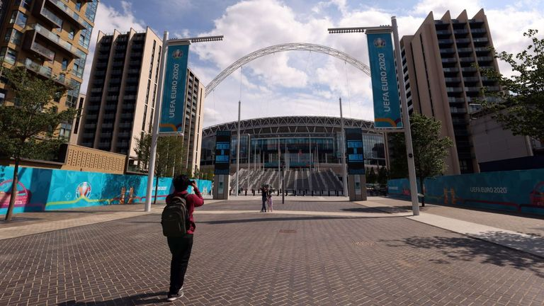 A general view outside of Wembley Stadium, London, as it prepares to host upcoming UEFA Euro 2020 matches. Picture date: Friday June 11, 2021.