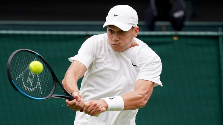 Jack Draper in action against Novak Djokovic on centre court on day one of Wimbledon at The All England Lawn Tennis and Croquet Club, Wimbledon. Picture date: Monday June 28, 2021.