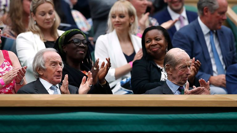 Prince Edward, the Duke of Kent and former Formula 1 driver Jackie Stewart were in attendance at Centre Court