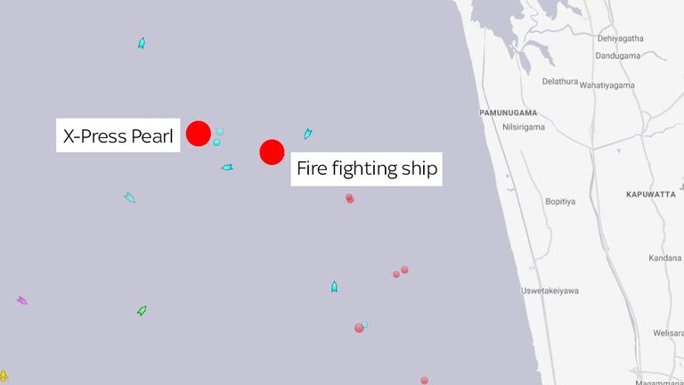 The X-Press Pearl started sinking 9.5 nautical miles off the west coast of Sri Lanka. Credit: marinetraffic.com