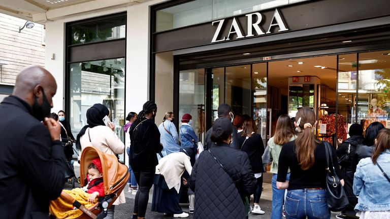 Customers enter a Zara shop in Nantes as non-essential business re-open after closing down for months, amid the coronavirus disease (COVID-19) outbreak in France, May 19, 2021