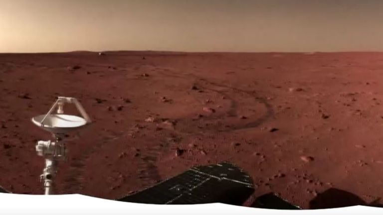 An image taken by the Zhurong rover, with the lander in the distance