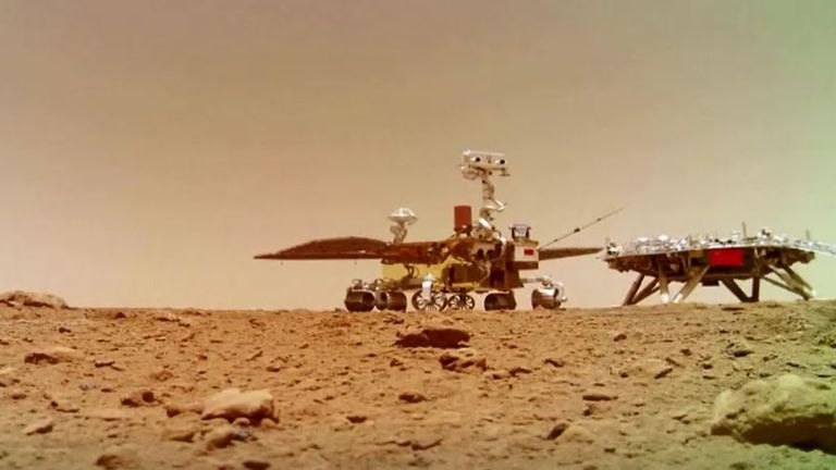 The Zhurong rover next to the lander on the Martian surface