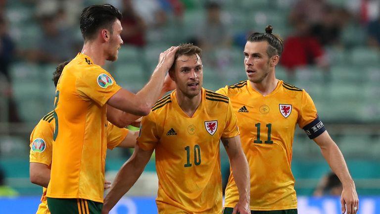 Aaron Ramsey celebrates scoring for Wales vs Turkey