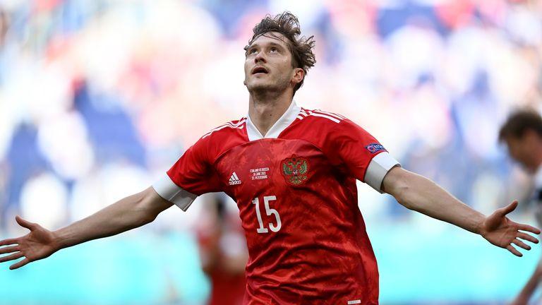 Russia's Aleksei Miranchuk celebrates after scoring the opening goal (AP)