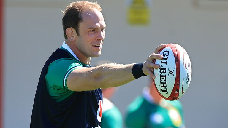 Lions captain Alun Wyn Jones issues instructions during the British and Irish Lions training session held at Stade Santander International stadium on June 14, 2021 in Saint Peter's, Jersey.