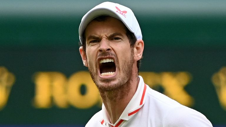 Britain's Andy Murray reacts after winning the first set against Georgia's Nikoloz Basilashvili during their men's singles first round match on the first day of the 2021 Wimbledon Championships at The All England Tennis Club in Wimbledon, southwest London, on June 28, 2021. - - RESTRICTED TO EDITORIAL USE (Photo by Glyn KIRK / AFP) / RESTRICTED TO EDITORIAL USE (Photo by GLYN KIRK/AFP via Getty Images)