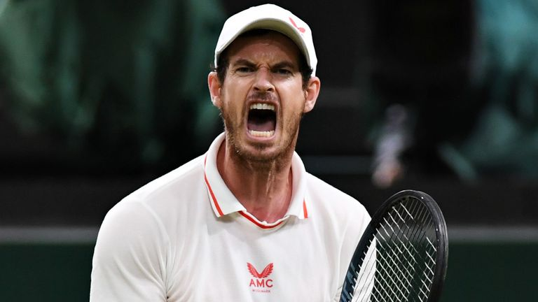 Andy Murray of Great Britain celebrates in his Men's Singles Second Round match against Oscar Otte of Germany during Day Three of The Championships - Wimbledon 2021 at All England Lawn Tennis and Croquet Club on June 30, 2021 in London, England. (Photo by Mike Hewitt/Getty Images)