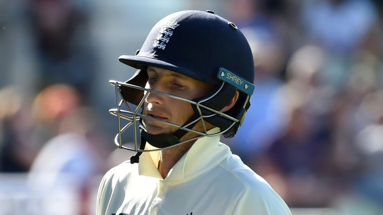 England captain Joe Root walks off after being dismissed in the second Test against New Zealand (Associated Press)