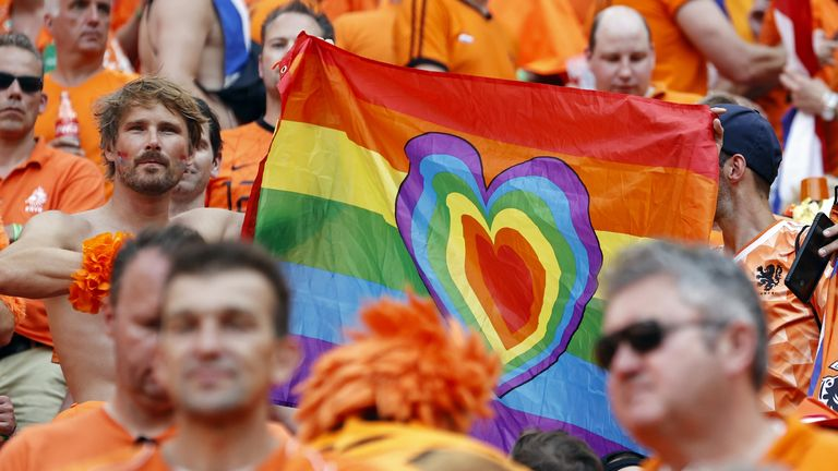 Netherlands fans were able to bring rainbow symbols into the stadium in Budapest