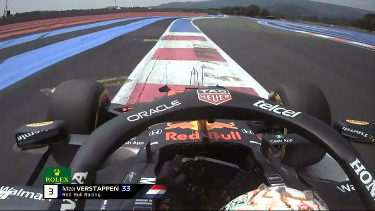 Max Verstappen runs wide over the rumble strip kerbs at Circuit Paul Ricard, losing a part of his front wing