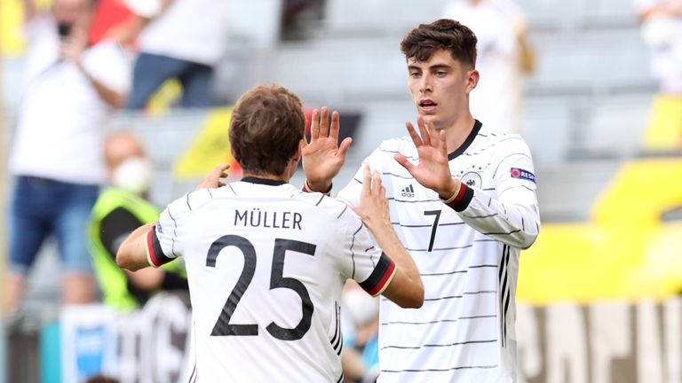 Germany's Kai Havertz celebrates with Thomas Mueller after scoring against Portugal