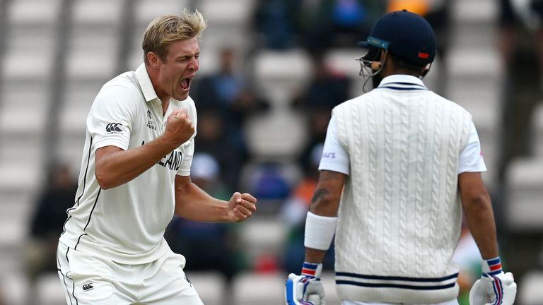 Kyle Jamieson celebrates after dismissing India captain Virat Kohli