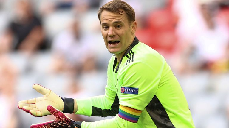 Germany goalkeeper Manuel Neuer has been wearing a rainbow armband in honour of 'Pride Month' (AP)