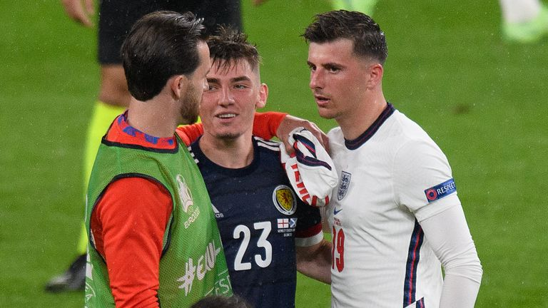 Billy Gilmour, Mason Mount and Ben Chilwell in close contact with each other after England's Euro 2020 match against Scotland