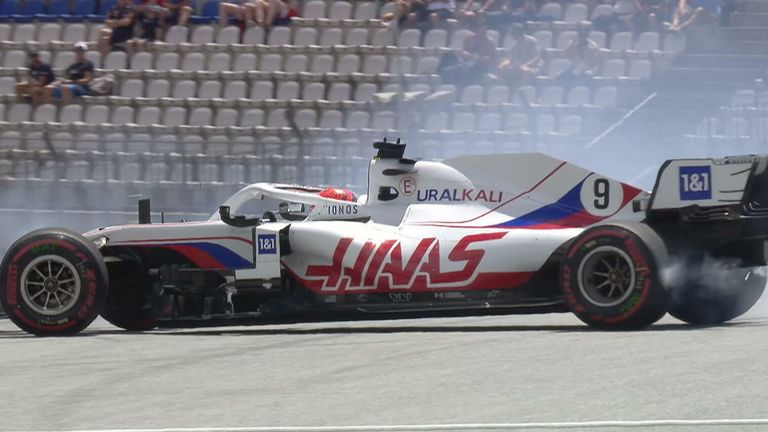 Nikita Mazepin loses control of his Haas during Practice 3 of the Styrian GP
