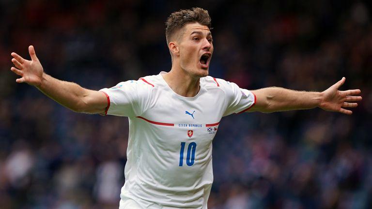 Czech Republic's Patrik Schick celebrates scoring the second goal of the game