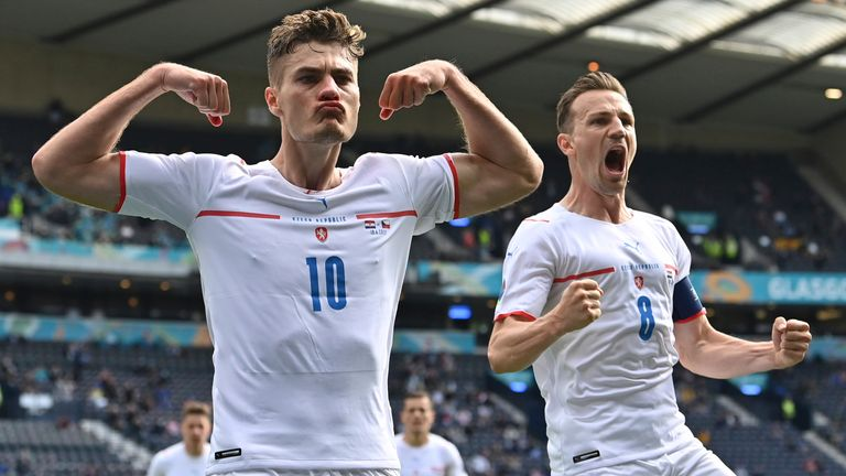Czech Republic's Patrik Schick, left, celebrates after scoring his side's first goal from the penalty spot against Croatia