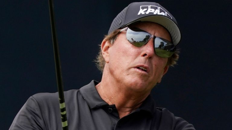 Phil Mickelson plays his shot from the seventh tee during the second round of the U.S. Open Golf Championship, Friday, June 18, 2021, at Torrey Pines Golf Course in San Diego. (AP Photo/Marcio Jose Sanchez)