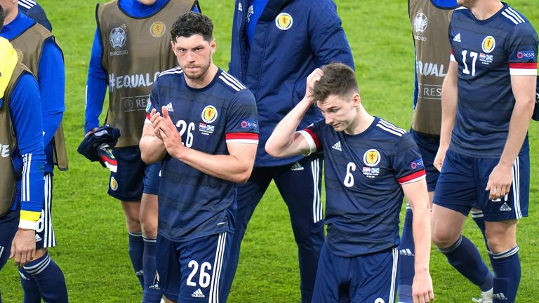 Scotland's Scott McKenna and Kieran Tierney applaud the fans after the final whistle during the UEFA Euro 2020 Group D match at Hampden Park, Glasgow. Picture date: Tuesday June 22, 2021.