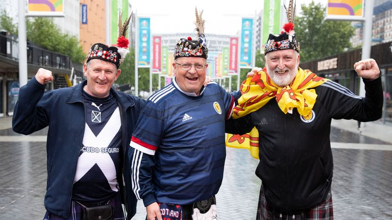Scotland fans at Wembley in London ahead of Friday's Euro 2020 match against England